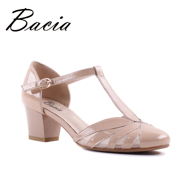 Bacia Full Grain Leather Sandals Handmade Quality Women Shoes Spring Summer Square Heels Genuine Leather Pumps Size 33-41 SA044 handmade genuine leather sandals women shoes lady high quality 2017 summer red silvery closed toe medium heels big size 10 41 42