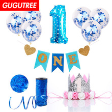 1 years old happy birthday balloons for party Decoration, foil Banners Paper tassels decoration PD-59