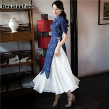 2019 traditional clothing Vietnam aodai qipao dress for women Vietnam Traditional Clothing Ao Dai Vietnam 2019 summer white woman aodai vietnam traditional clothing ao dai vietnam robes and pants vietnam costumes improved cheongsam