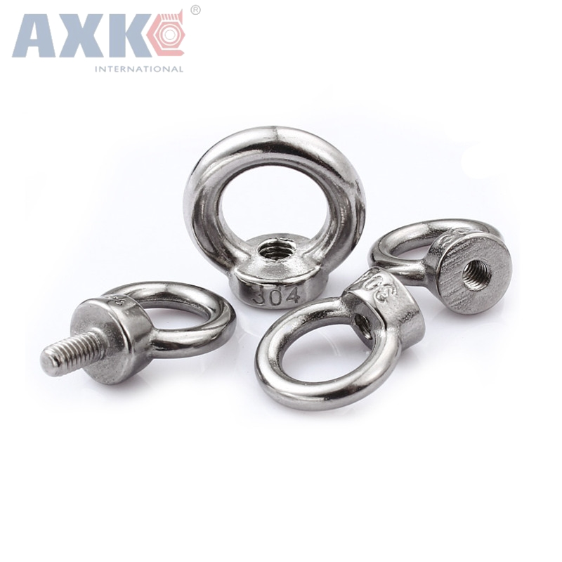 AXK M14*20 304 Stainless Steel Lifting Eye Bolts Round Ring Hook Bolt 5pcs 1pc m5 304 stainless steel chain ratchet tie fasten bolts hook