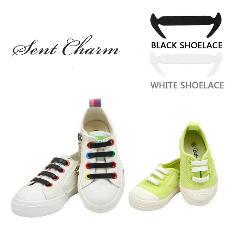 12Pcs/set Elastic Black White No Tie Silicone Shoelaces For Kids Sneakers Canva Shoes Novelty Lazy Laces glowing sneakers usb charging shoes lights up colorful led kids luminous sneakers glowing sneakers black led shoes for boys