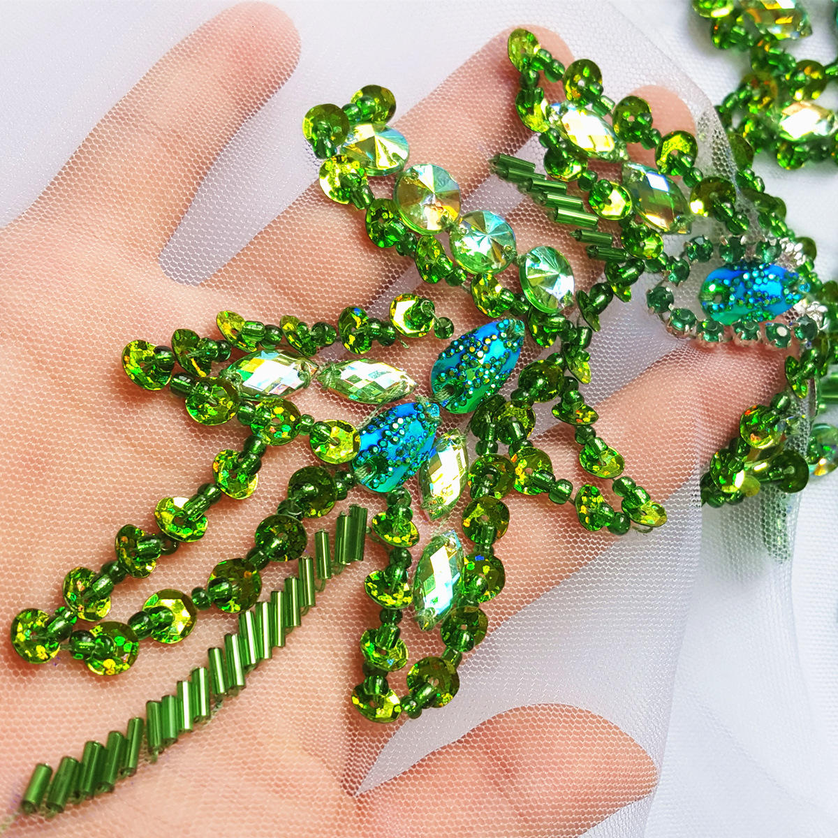 8cf5fdaaa7 US $24.74 25% OFF|UNique Goddess Beaded Sew on Rhinestones Sequins Applique  Crystals Patches Green wedding Emboridery bridal decorative for cloth-in ...