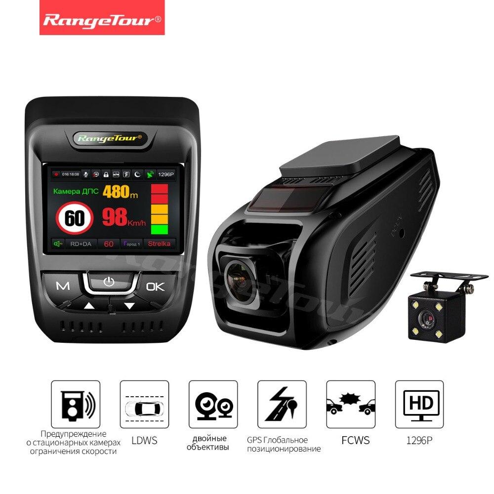 3 в 1 Антирадары видео Регистраторы Двойной объектив регистраторы Видеорегистраторы для автомобилей Камера gps LDWS Full HD 1296 P 170 градусов сперед...
