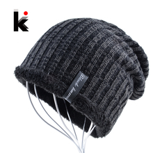 Зима шапочка мужчины шляпа воды рябь вязаная шапочка мужские skullies трикотажные шапки плюс бархат толще капот шапочки для мужчин gorro