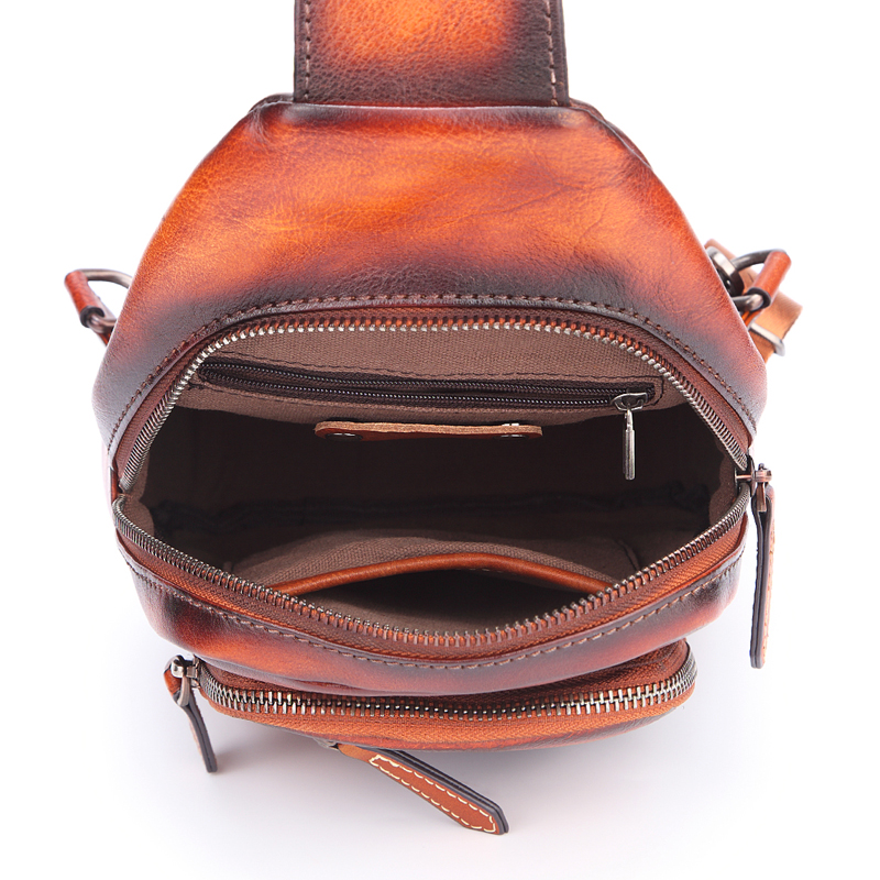 Men 's Cowhide F Chest Bags Genuine Leather Single Shoulder Pack High Quality Cross Body Bag For Man - 5