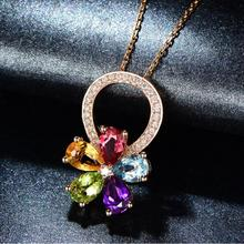 TJP Vintage Crystal Flower Pendant Necklace For Women Accessories Colorful Fashion Girls Rose Gold Female Jewelry Gift