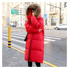 Fashion Simple and elegant loose thick large size Winter women's down jacket large fur collar long Women's winter clothing Coat цена