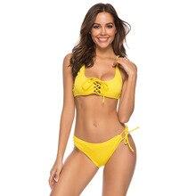 2019 high quality European and American swimsuit sexy split convex mesh bikini yellow S-XL