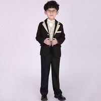 Boy Formal Classic Costume 5PCS/SET Gentlemen Boys Suits Weddings Kids Prom Suits Wedding Suits Boys Tuexdo Children Clothes Set