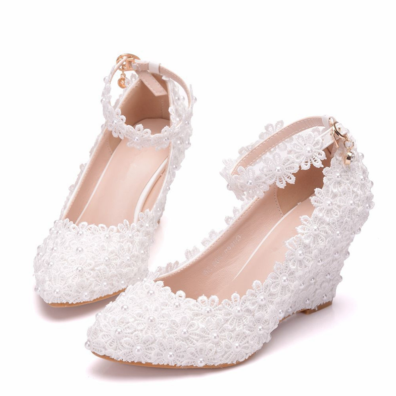 Women Wedges High Heels White Lace Flowers Pearl Bowtie Pumps Shoes Wedding Dress Shoes Party Fashion Woman Shoes XY A0302