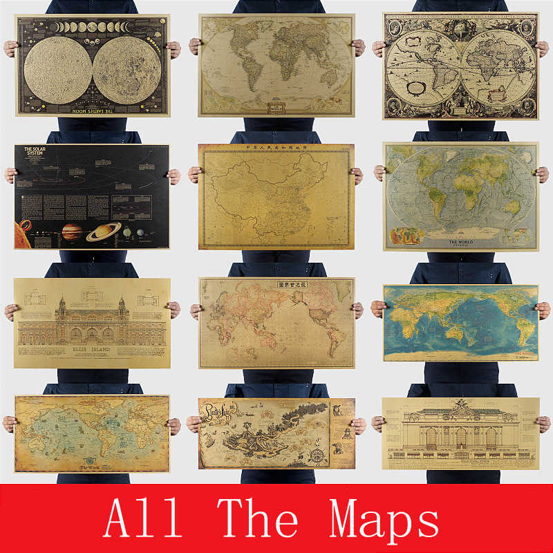 All the collection of maps Vintage Retro Paper Earth Moon Mars World Map Poster Wall Chart Home Decoration Wall Sticker