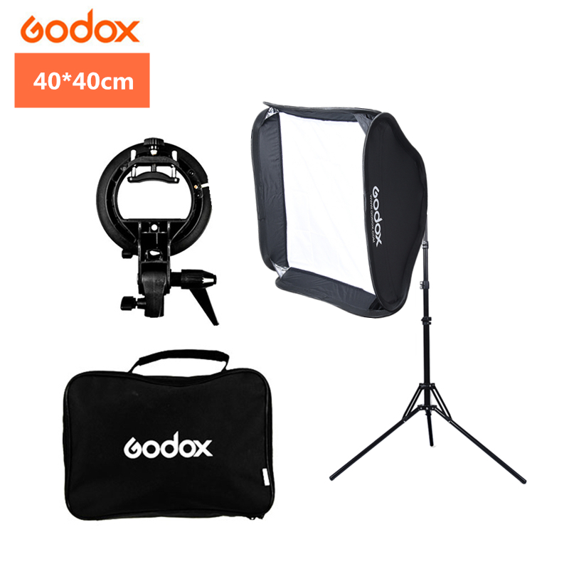 Godox 40x40cm 15x15 pouces Flash Speedlite Softbox + support de type S Kit de montage Bowens avec support de lumière 2m pour Studio de photographie