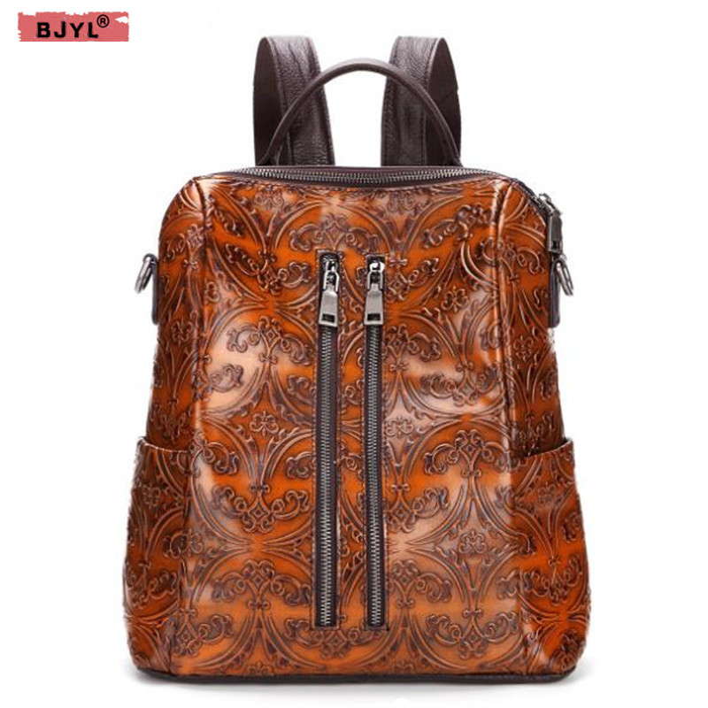 BJYL 2018 new Vintage leisure women backpacks fashion shoulder bag cow leather female travel bags hand-rubbing backpack женские часы ingersoll in4901wh
