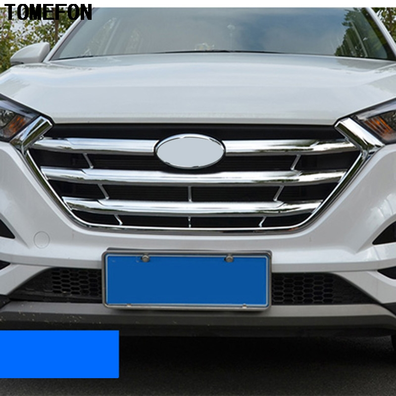 For Hyundai Tucson 2016 2017 ABS Front Center Racing Grille Cover Frame Grille Cover Front Engine Hood Sticker Trim 4pcs set smoke sun rain visor vent window deflector shield guard shade for hyundai tucson 2016