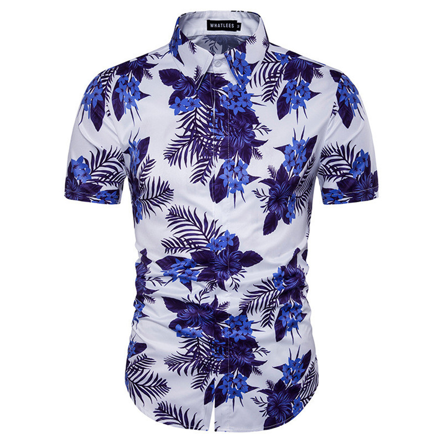 New Chinese Style Blue And White Porcelain Print Casual Men Dress
