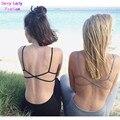 Sexy V cuello sin respaldo cruz Brandage tiras Bustier Crop top bra tanque Bralette brandy Camis 6 colores