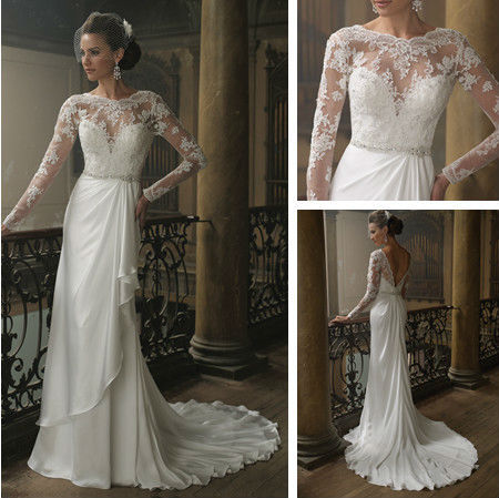 Long sleeve lace wedding dress low back v shape with for Lace low back wedding dress