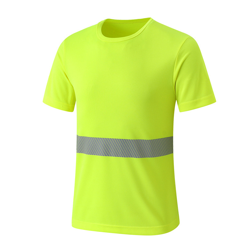 Safety Clothing Reflective Strip High Visibility Tops Tee Quick Drying Short Sleeve Working Tshirt Fluorescent Yellow Workwear fluorescence yellow high visibility