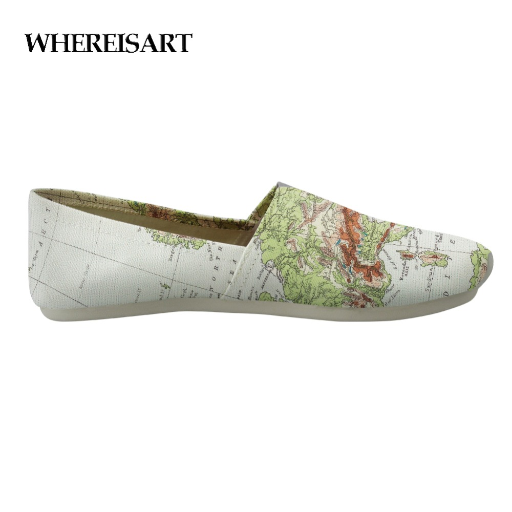 New WHEREISART Men Shoes Autumn Spring Map Canvas Comfortable Casual Shoes Breathable Man Flats Leisure Loafers Zapatos Hombre