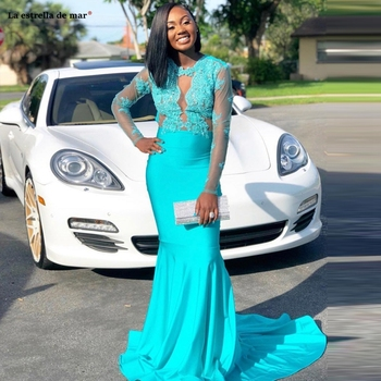 Vestidos de fiesta de noche largos elegantes2019 new lace satin long sleeve turquoise sexy mermaid prom dress long African gala