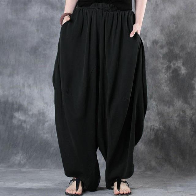 92999a8f1acdd 2018 ZANZEA Woman Trousers Cotton Linen Loose Wide Leg Pants Elastic Waist  Vintage Casual Solid Baggy Harem Pants Plus Size