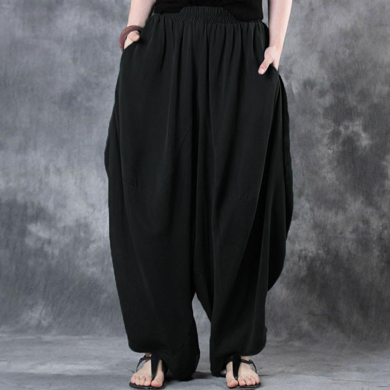 2019 ZANZEA Woman Trousers Cotton Linen Loose   Wide     Leg     Pants   Elastic Waist Vintage Casual Solid Baggy Harem   Pants   Plus Size