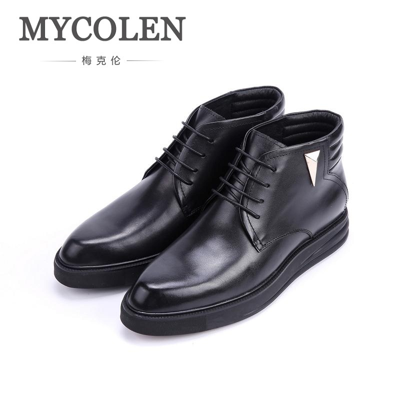 MYCOLEN Men Boots Lace-Up Chelsea Boots New Design Men Leather Boots European Winter Work Shoes Men Black Sapato Masculino