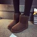 Plus size 36-45 Nova Mulher Botas de Inverno Australianos Mulheres 2017 Tornozelo Sentiu Homens Sapatos de couro de Moda Feminina de Neve Para Homens Ugs Botas de Camurça
