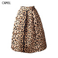 ORMELL NEW 2016 Winter Women Vintage Satin Leopard Print Pleated Skirts High Waist A-Line Tutu Midi Skirt Size S XL Large