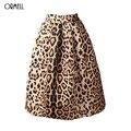 Ormell novo 2016 inverno mulheres vintage cetim plissado com estampa de leopardo saias de Cintura Alta A Linha Tutu Saia Midi Tamanho S XL grande