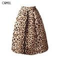 Ormell nuevo 2016 invierno mujeres vintage estampado de leopardo satén plisado Tutú faldas de Cintura Alta Una Línea Falda de Midi Tamaño S XL grande