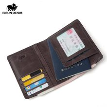 BISON DENIM Men Purse Genuine Leather Passport Cover Coin pocket ID Business Card Holder Travel Credit Wallet For Men W9445(China)