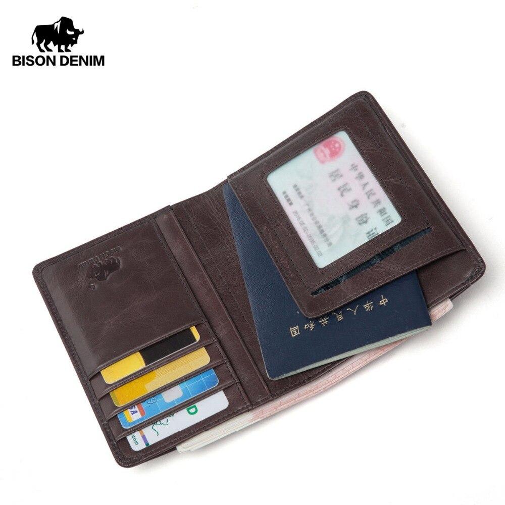 BISON DENIM Men Purse Genuine Leather Passport Cover Coin pocket ID Business Card Holder Travel Credit Wallet For Men W9445