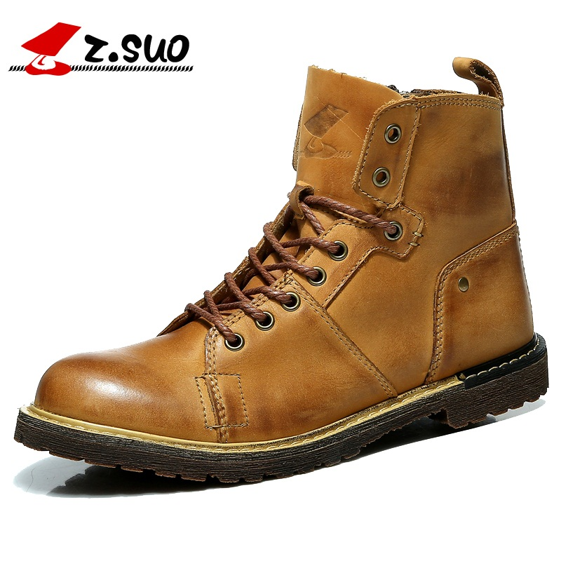 ФОТО Z. Suo men 's boots,high quality leather fashion tooling boots man,leisure fashion spring autumn man boots