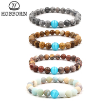 HOBBORN Trendy Opals Charm Women Bracelet Handmade Amazon Map Picture Stone Strand Elasticity Beads Men Bracelets Jewelry Cruz
