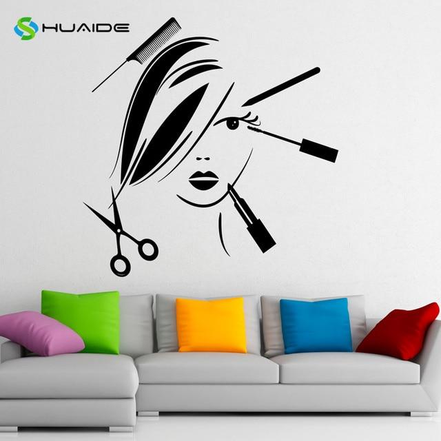 Beauty salon wall decal make up vinyl wall sticker fashion cosmetics interior bedroom home decor wall
