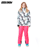Gsousnow ski suit women's suit windproof waterproof and warm women snowboard jacket and pant winter skiing suit
