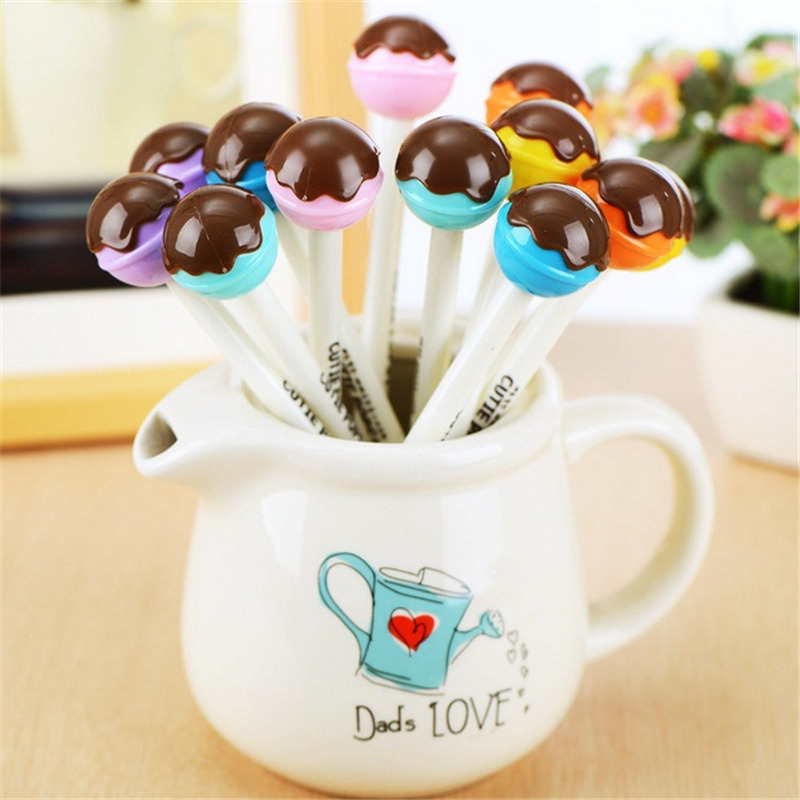 6Pcs/Lot Creative Chocolate Sugar Loaf Gel Pen Cute Kids Stationery Store Escritorio Stationary School Material Thing Item Shop
