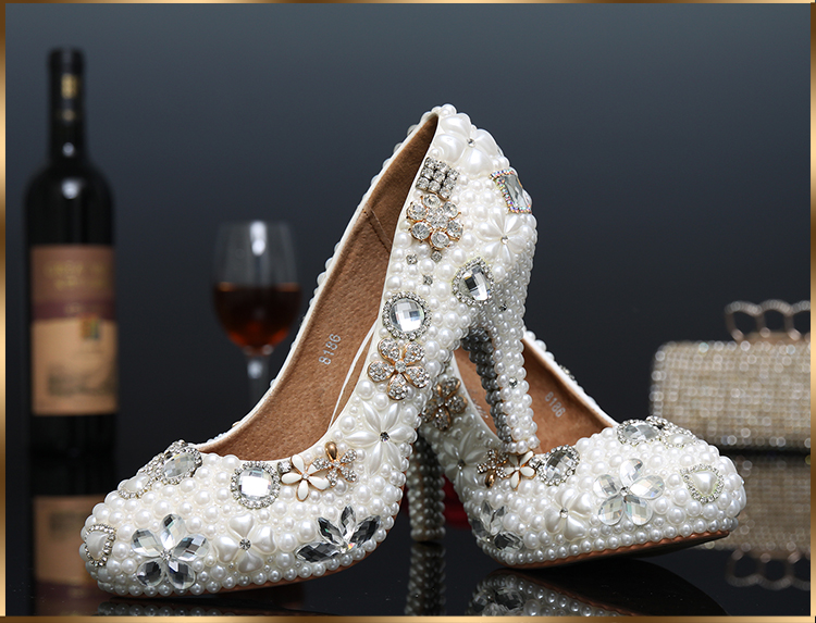 Da Handmade Sposa Scarpe Perle Con Completa Bianco Donna wagOF5qna