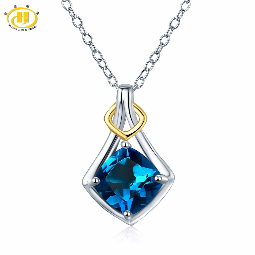 Hutang 7mm London Blue Topaz Pendant Natural Gemstone 925 Sterling Silver Necklace Two tone Fine Jewelry