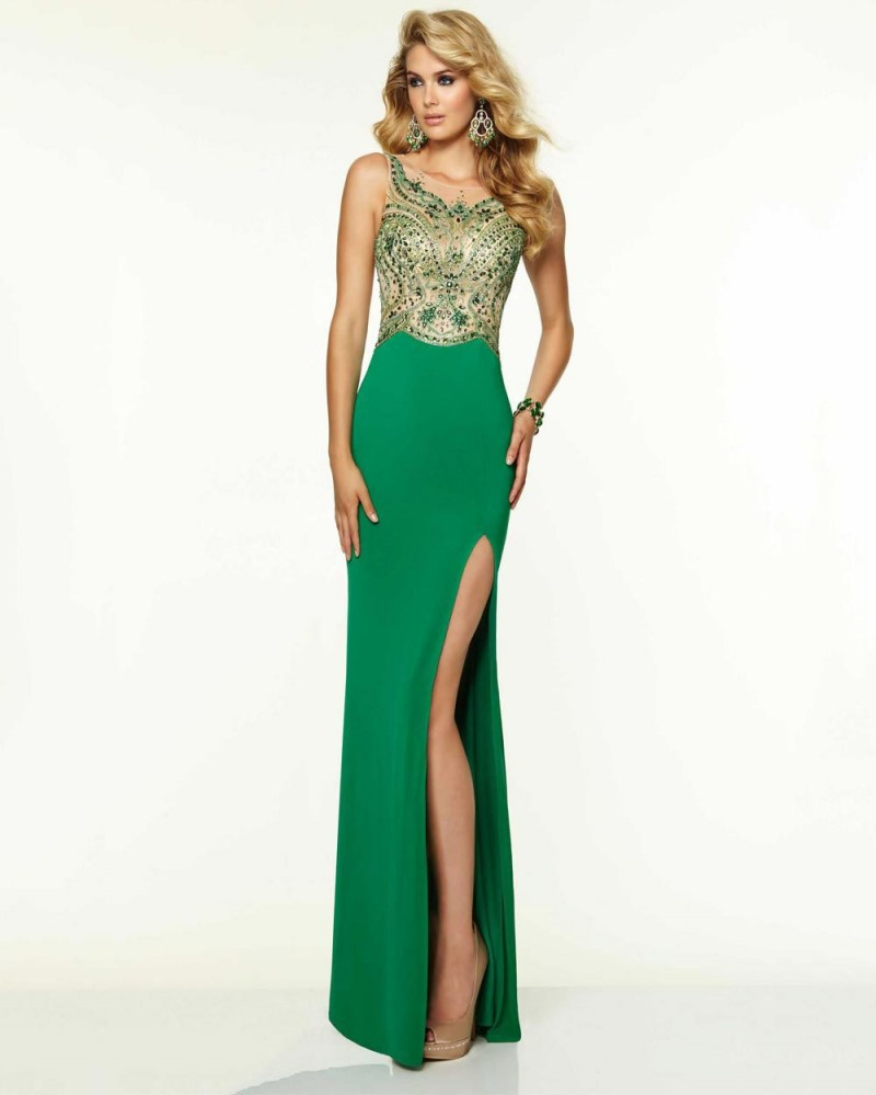Aliexpress.com : Buy Sexy Green Long Prom Dresses 2017 Sheer Scoop ...