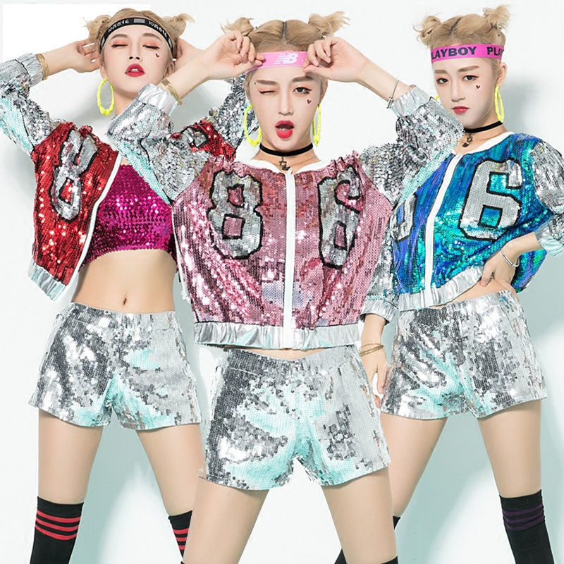 Jazz Dance Costumes Hip Hop Sequins Jacket Shorts Sexy Nightclub DJ DS Singer Stage Clothes Performance