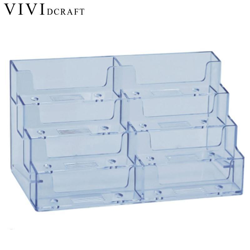 Vividcraft Desk Accessories Transparent Acrylic Counter Top Display Stand Photo Holder Business Card Holders Desk Stand