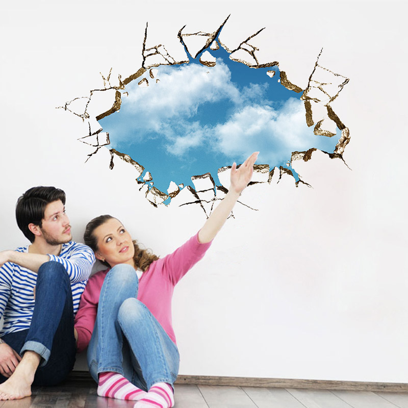 Cute Kawaii 3D Broken Wall Sky Removable Home Decor Vinyl Art Wall Stickers Decal Wallpaper For living Room Bedroom