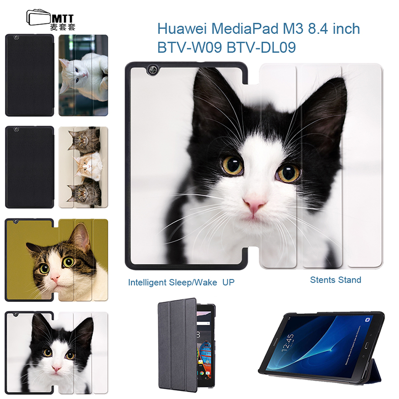 MTT Ultra Slim PU Leather Pet Cats Cover Sleeve For Huawei Mediapad M3 8.4 Smart Stand Case For Huawei Mediapad M3 8.4inch Case megoo case cover sleeve for huawei mediapad m3 8 4 ultra slim lightweight folio stand 8 4inch