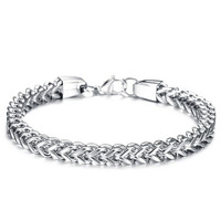 Braceletory fashion stainless steel bracelet bangle two colors availble with clip for girls or boys fashion jewelry