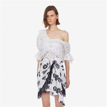 CHICATWILL Sweet Ruffles Cutout Lace Tops Blouse Women Sequins Floral Bow Irregular Skirts Ladies Clothes