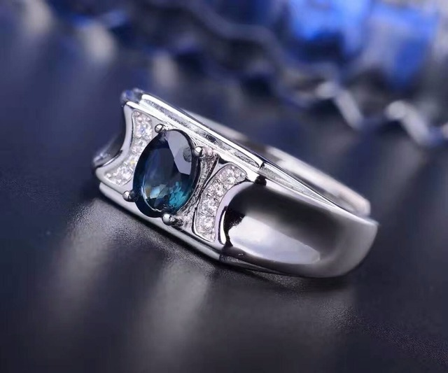 Fashion man gemstone ring 5*7mm natural royal blue sapphire man ring solid 925 silver sapphire ring for man sapphire jewelry