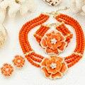 Presente de ano novo ~ beads choker classic orange vermelho rosas azuis nigerianos beads africanos conjunto de jóias festa de casamento rainha jóias conjuntos