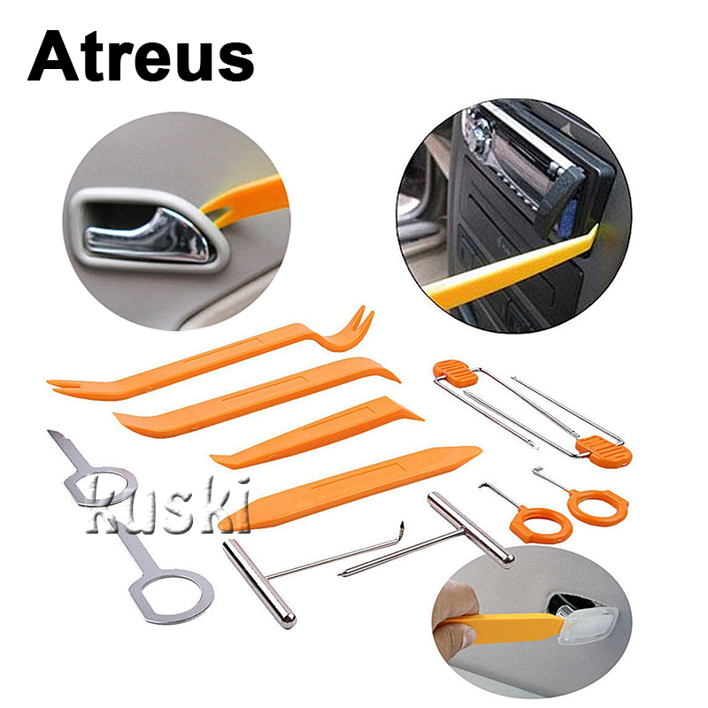 Atreus Car 12pcs Multimedia outlet panel Removal Tool Sticker For Skoda Octavia 2 A7 Rapid Kia Opel Toyota Corolla Accessories car usb sd aux adapter digital music changer mp3 converter for skoda octavia 2007 2011 fits select oem radios